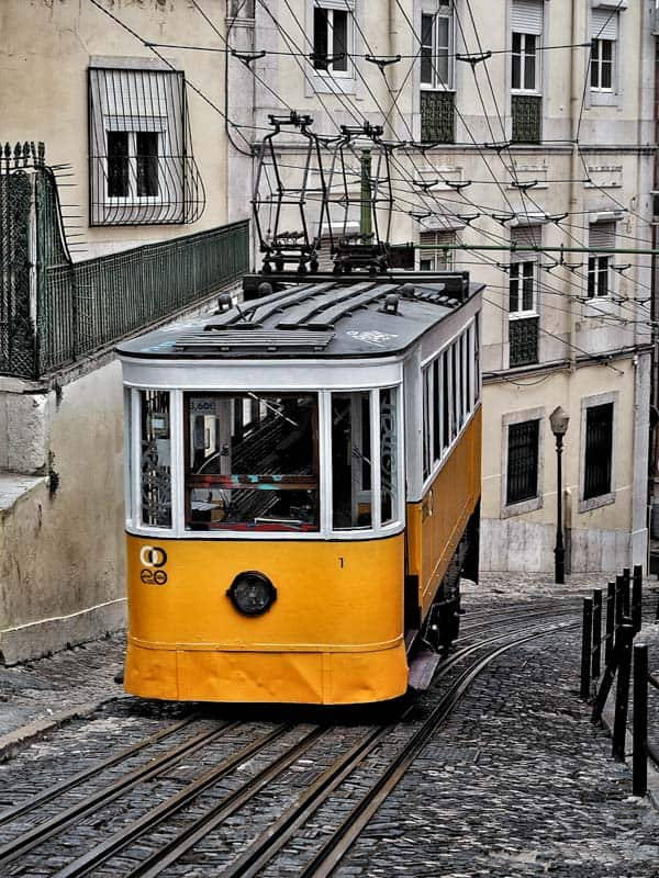 Taking the Tram is best way to get around Lisbon Portugal