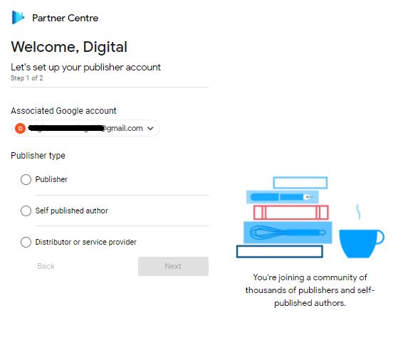 cara menjual buku di google play : memilih kategori akun