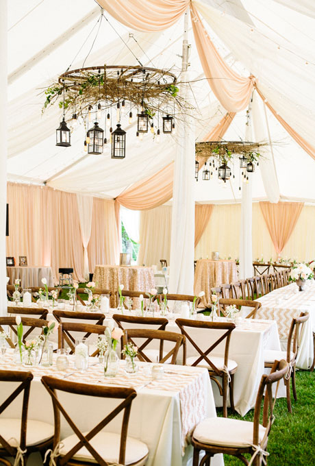 Beautiful Wedding Tent Ideas: Peach and White Draped Fabric with Hanging Lanterns