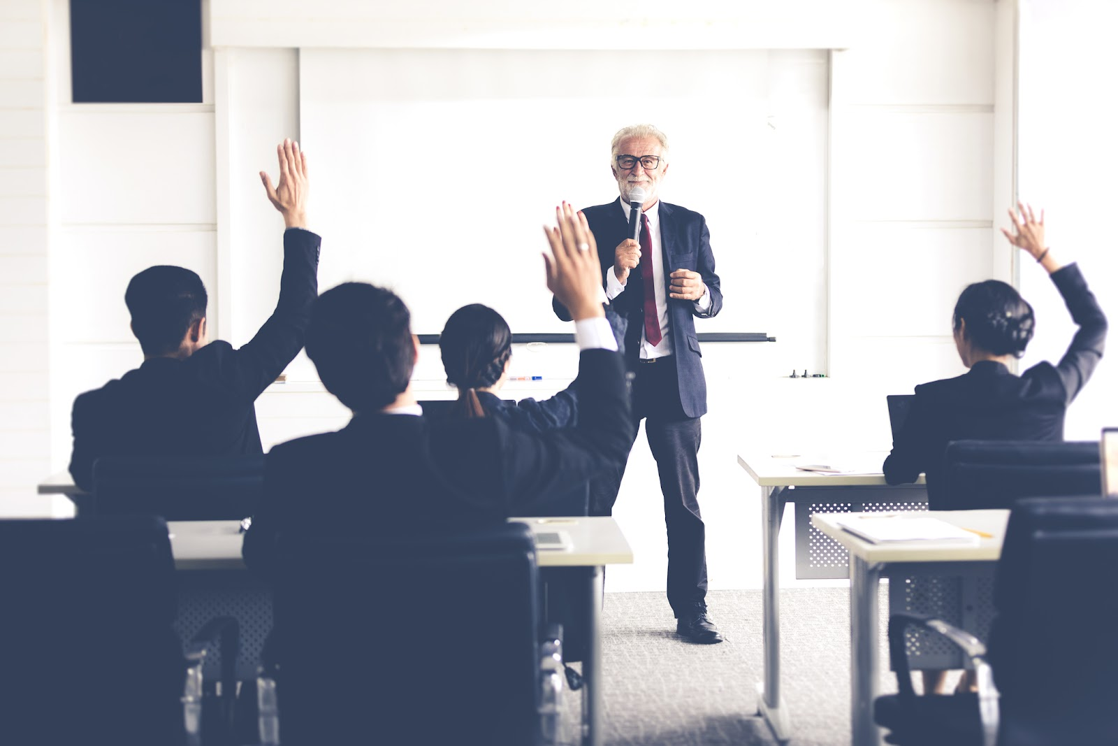 businessmen in a classroom