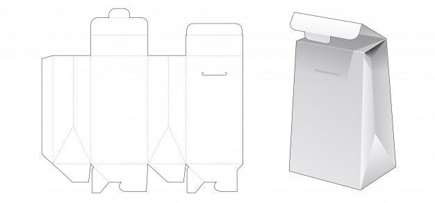Cardboard packaging bag die cut template Premium Vector