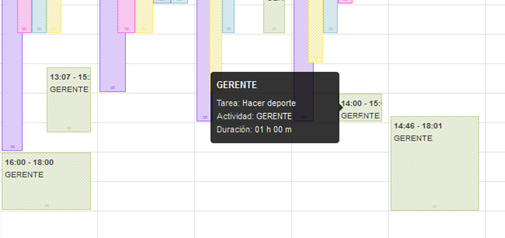 Detalle del panel del calendario en primaERP TIME TRACKING