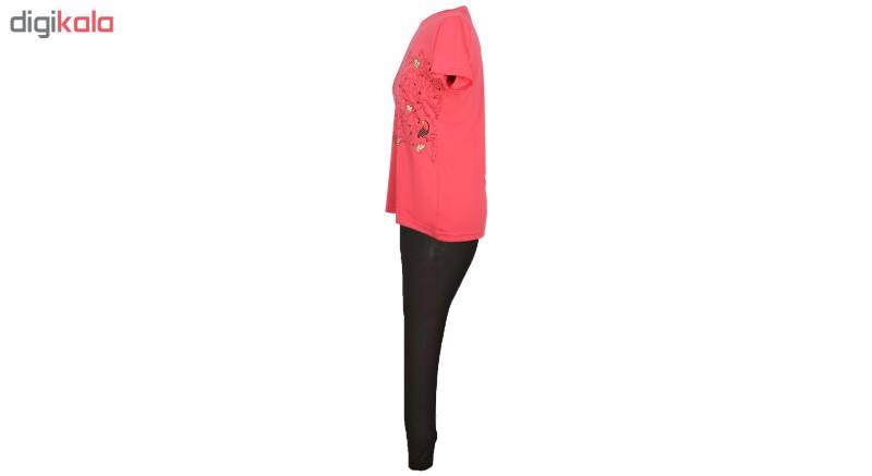 ست تیشرت و شلوار زنانه کد D001 رنگ گلبهی