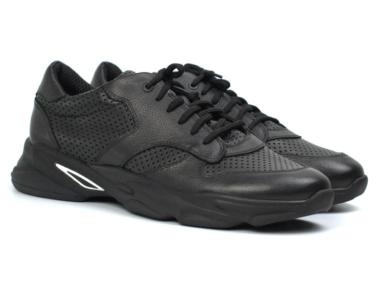 Кроссовки мужские летние сетка кожаные черные дышащая обувь больших размеров Rosso Avangard ReBaKa PerfLeath Floto BS