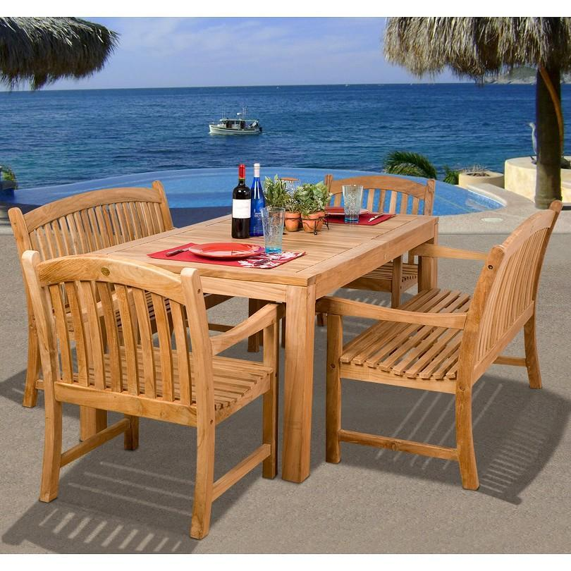Holmes 5-Piece Teak Rectangular Patio Dining Furniture Set