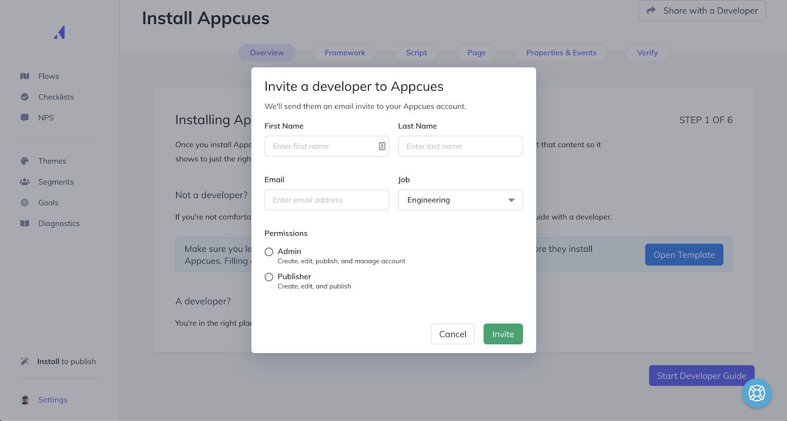 Appcues' invite a developer
