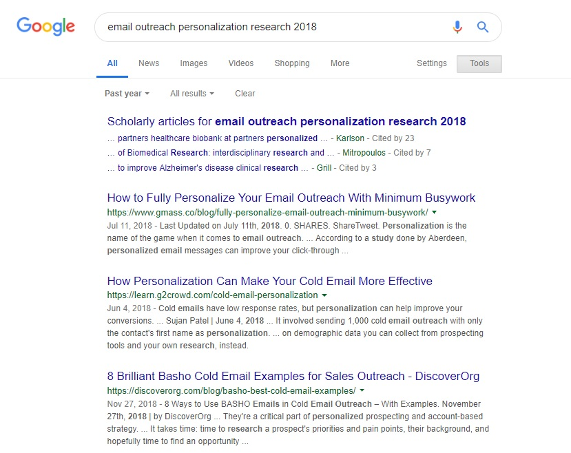"""Looking up """"Email outreach personalization research 2018"""" on Google."""