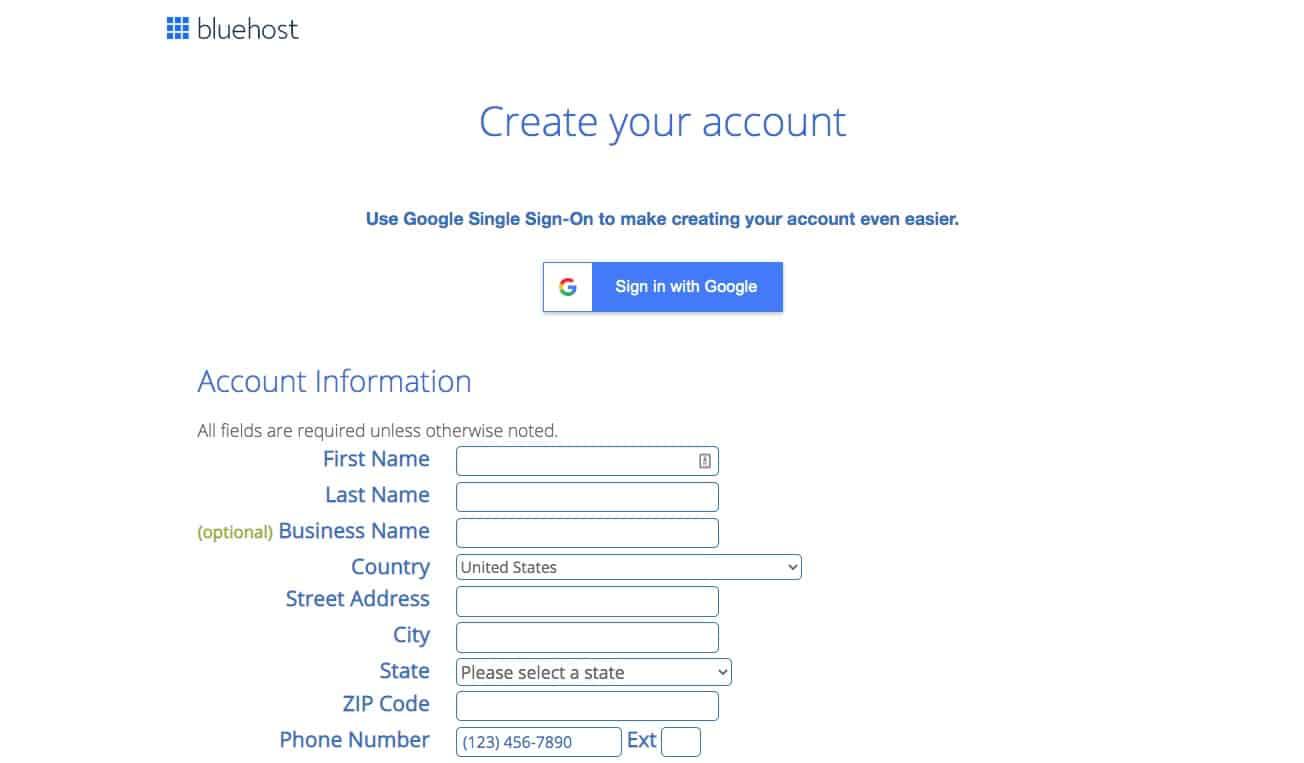 a screenshot from bluehost's website