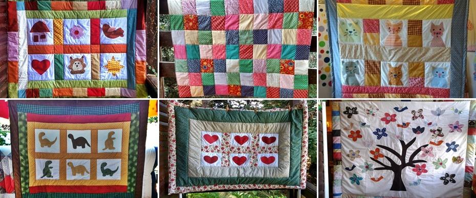 A Cia das Mãos Patchwork confecciona há 8 anos colchas, tapetes, almofadas, mantas em patchwork, para crianças e adultos. A foto retrata vários modelos já confeccionados aqui no atelier.