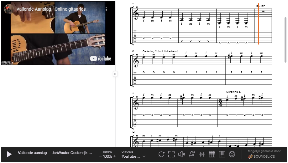 gitaarlessen gitaartabs