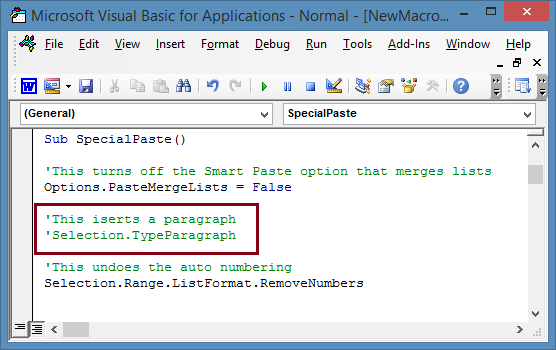 Special Paste Macro with Insert Paragraph command turned off.