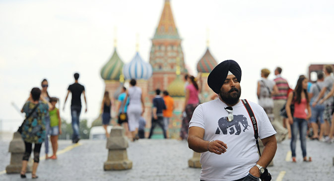 Indian tourist in Russia