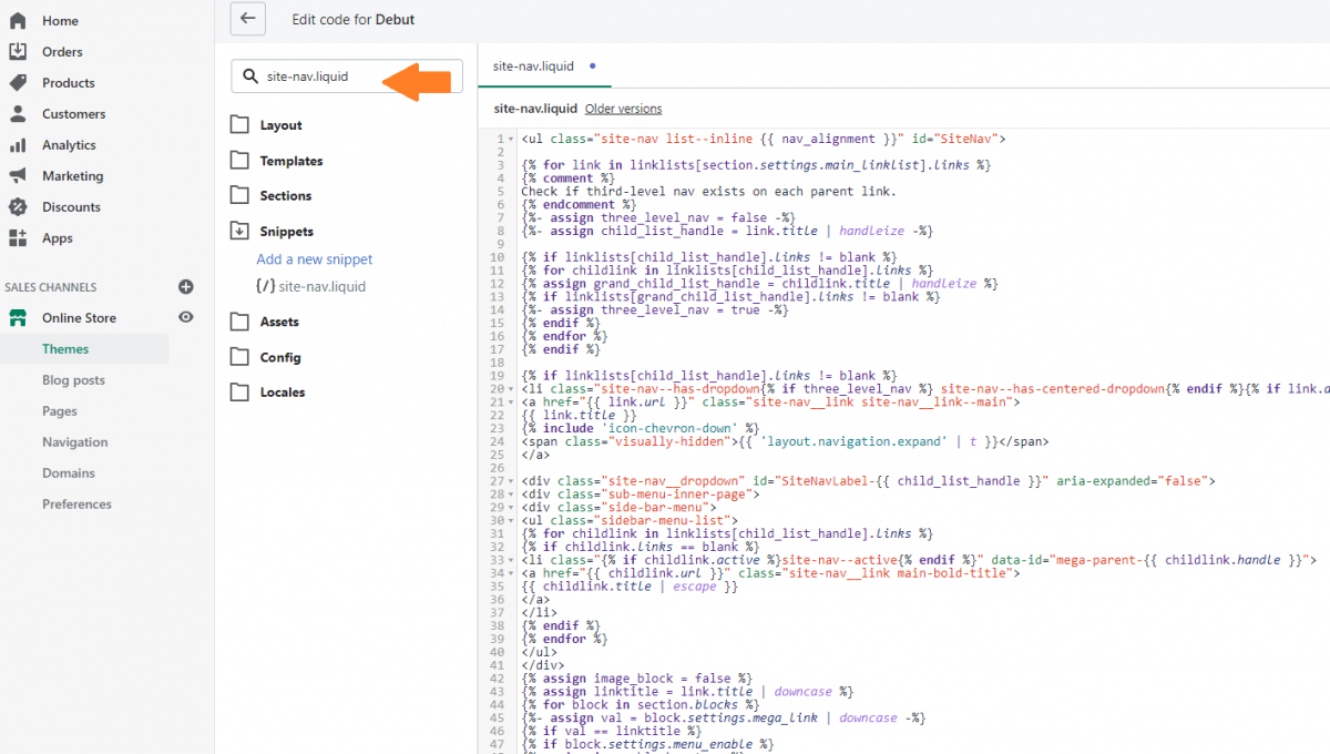 Edit mega menu theme code in Shopify
