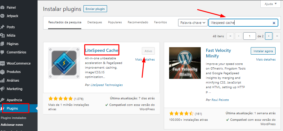 instalar e ativar o plugin LiteSpeed Cache no WordPress