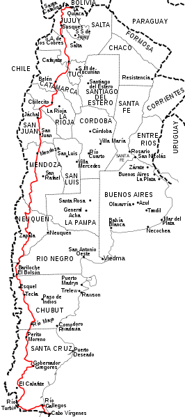 Karte der Route 40 Patagonien (Argentinien)