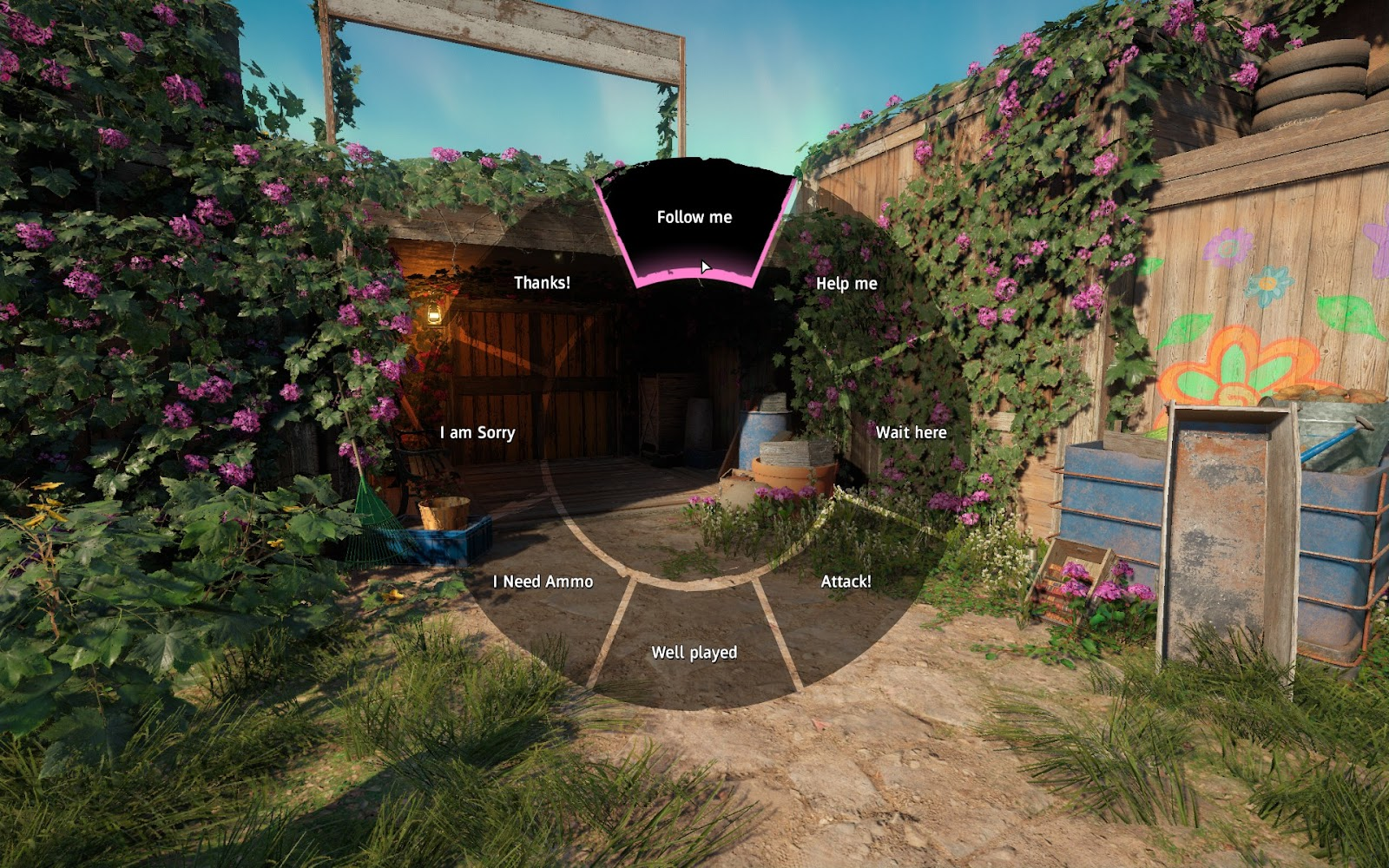 Accessibility wheel showing short messages to use in cooperative gameplay