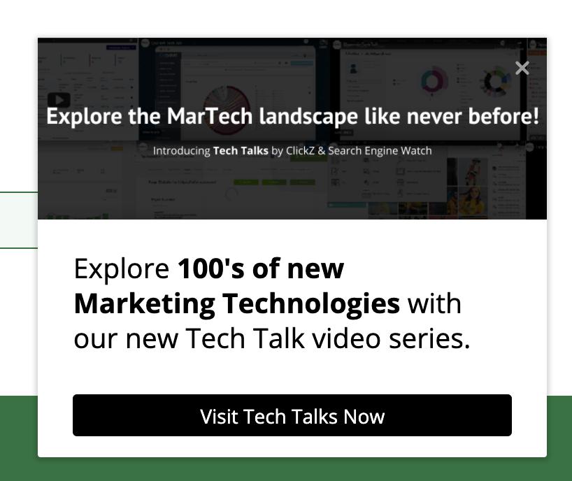 Pop up window about MarTech Landscape.