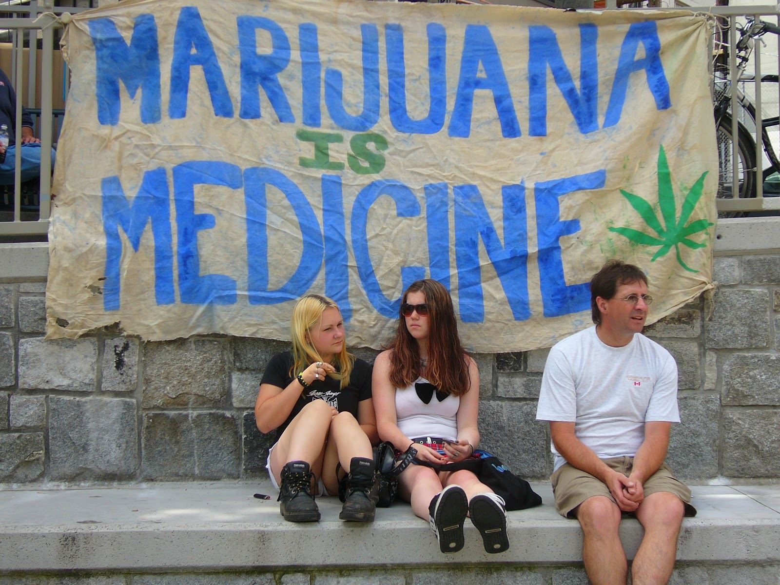 People protesting for cannabis legalization at Vancouver hemp rally.