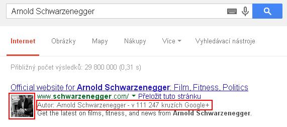 Google autorství v SERPu