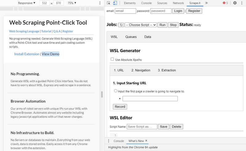 Scrape.it – расширение для браузера Chrome для сбора данных