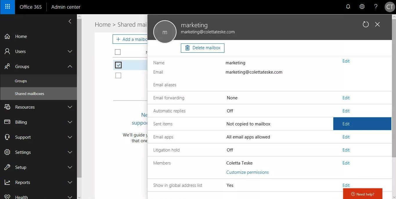Office 365 Admin Center profile