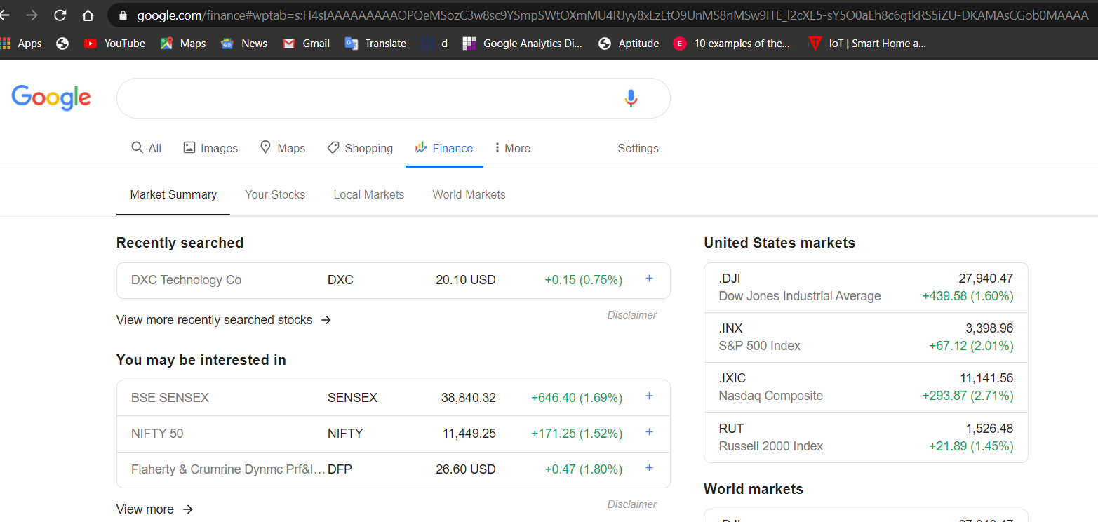How does Google Finance look on web result