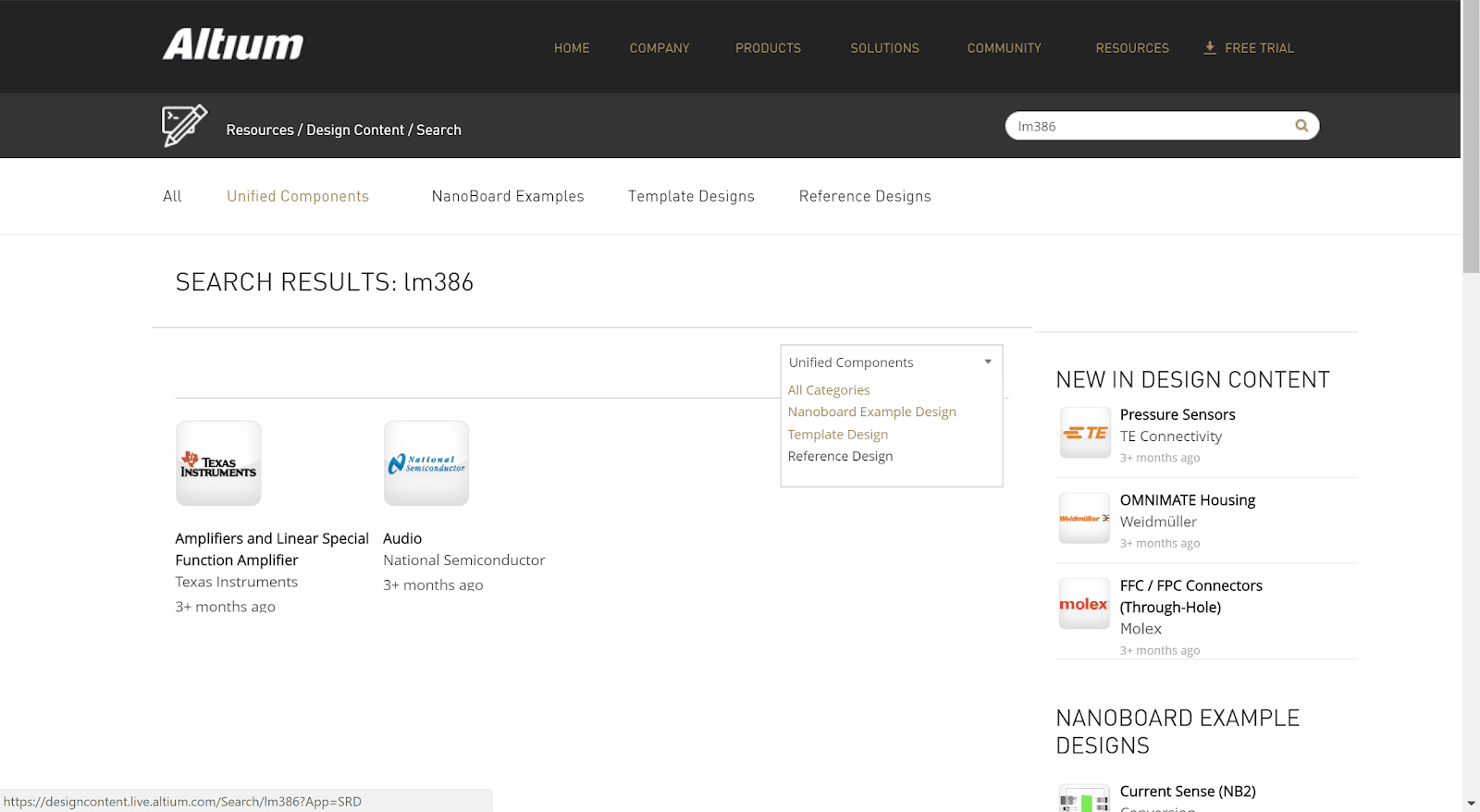 Example of search result in Altium design content