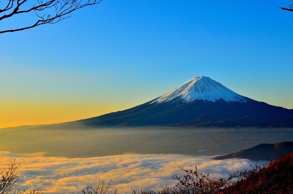 富士山, 火山, 霧, 山