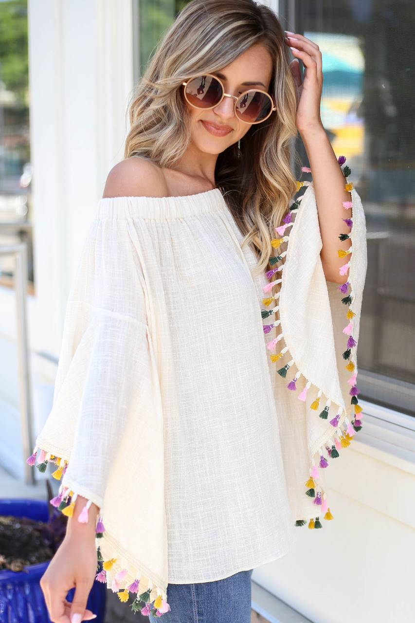 Natalia Off the Shoulder Tassel Top