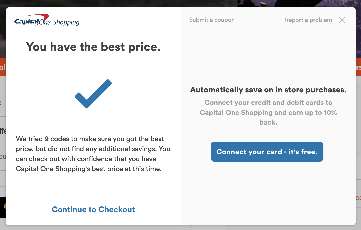 Capital One Shopping coupon extension