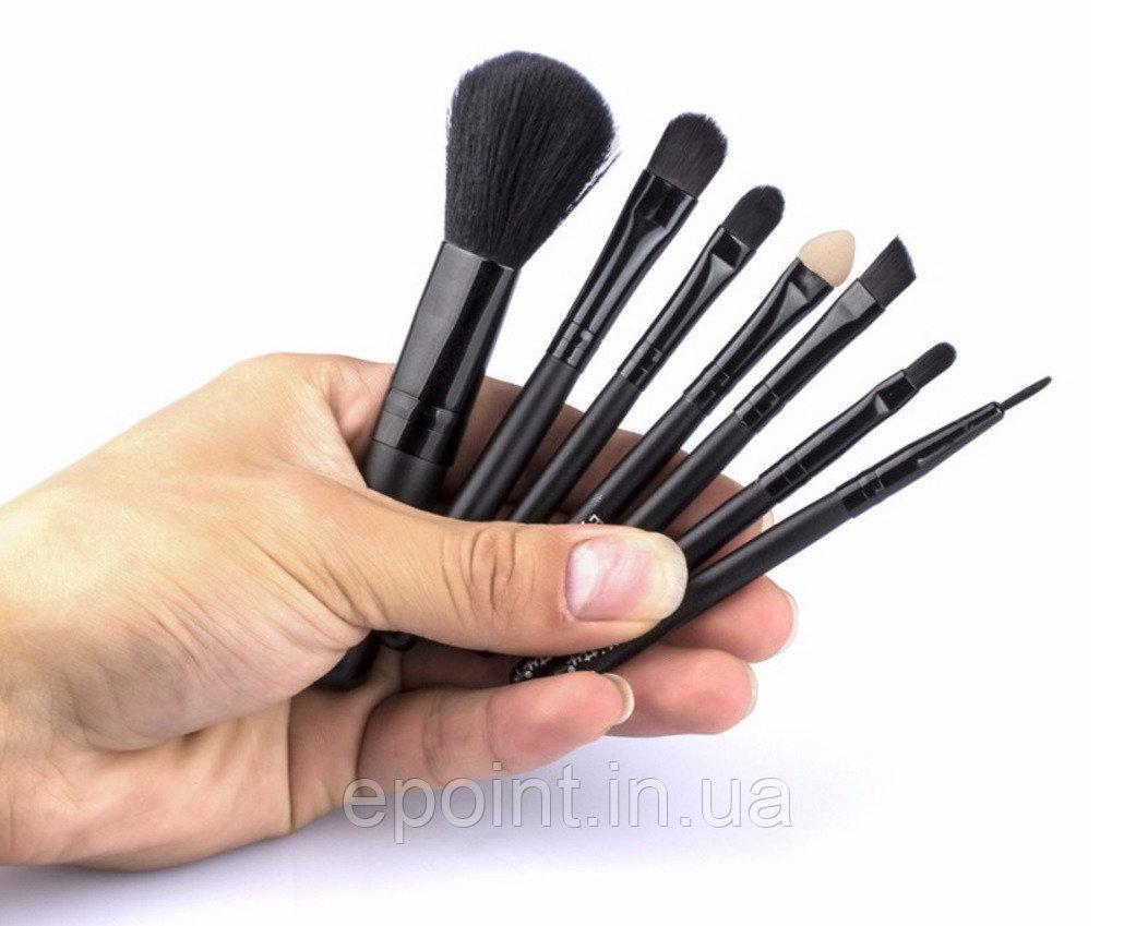 Набор мини-кистей для макияжа 7 шт., черные цвет, цена 175 грн., купить в Киеве — Prom.ua (ID#271170640)