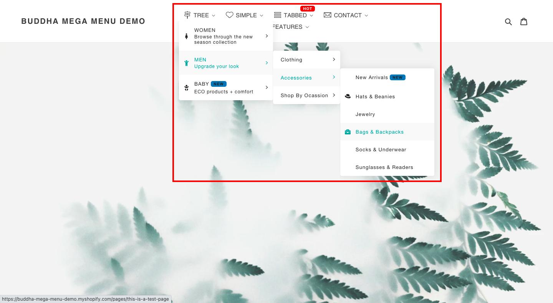 Shopifyのメニュー設定と同じように、ドロップダウンメニューを作成します。階層の数が無制限なので、通常よりもさらに階層を深くすることが可能です。