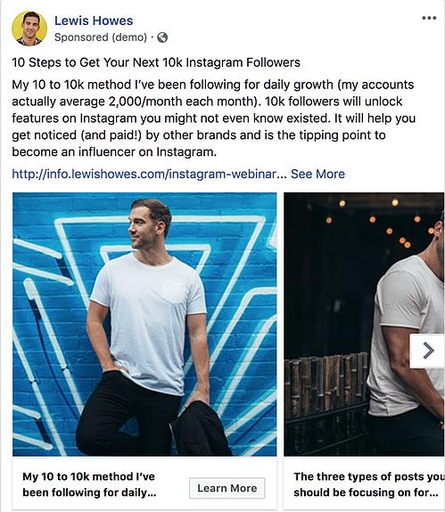 Lewis Howes Facebook Ads