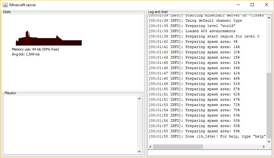 servidor de minecraft rodando no windows com sucesso