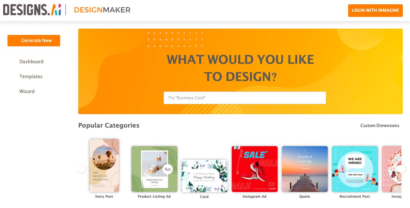 Designs.ai - Designmaker dashboard