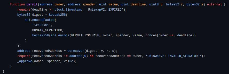 Meta Transactions permit code