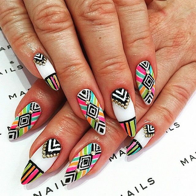 Quirky bridal nail art