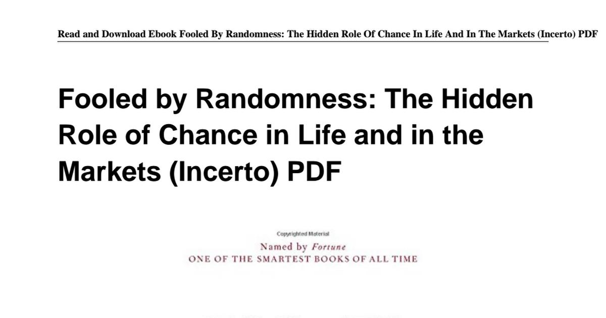 0812975219 Fooled Randomness Hidden Markets Incertopdf Google Drive