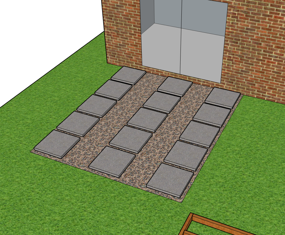 Diagram of a concrete slab base to support a decking frame