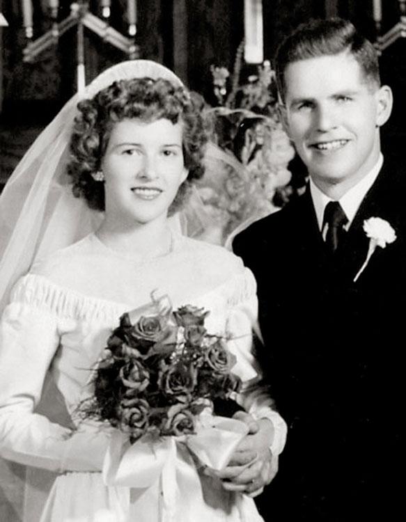 Lois and Wayne on their wedding day