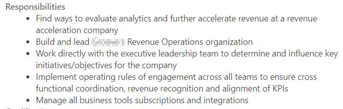 revenue operations professional job description