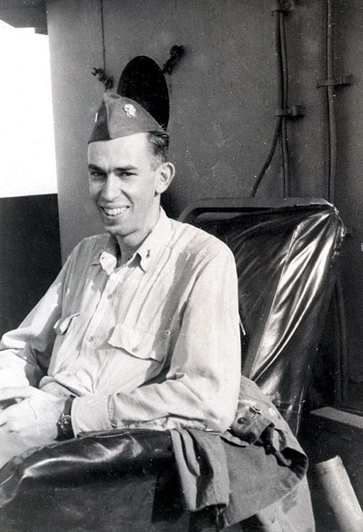 Fred in rare comfort aboard USS Hancock, 1945