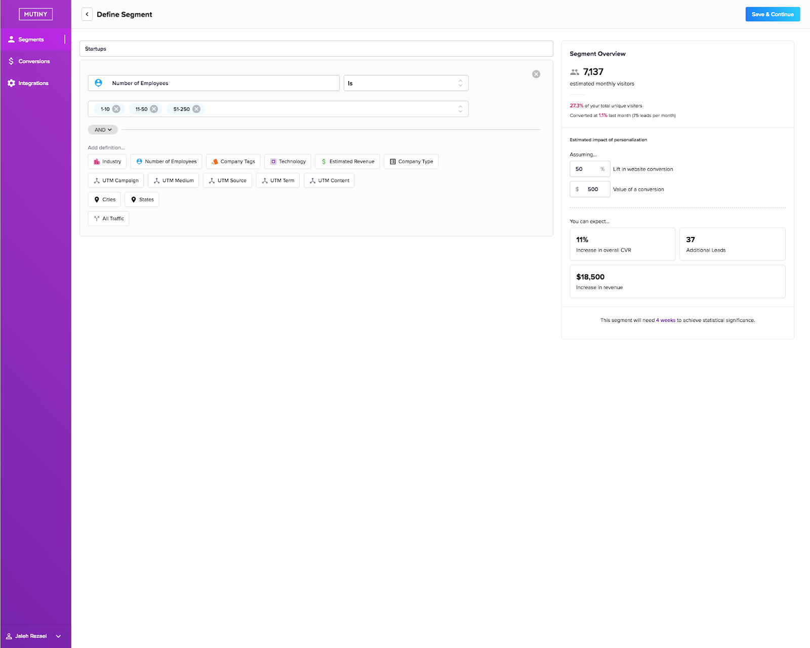Create an audience segment using the pre-integrated data in Mutiny