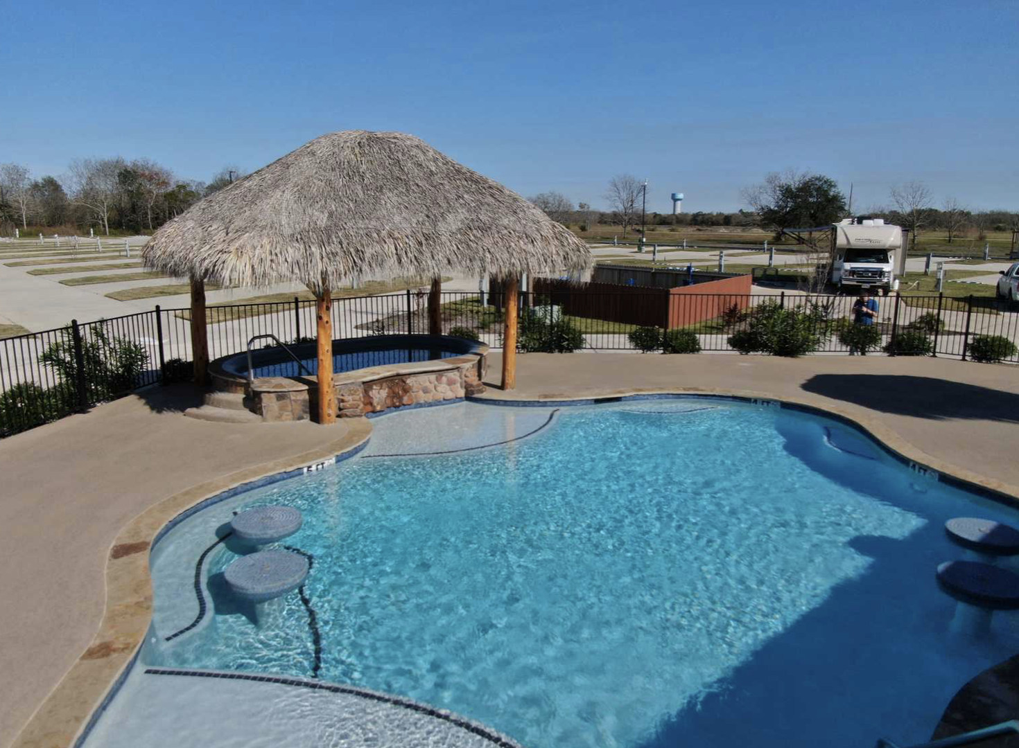Summer Breeze campground near Houston, TX with pool and covered hot tub.