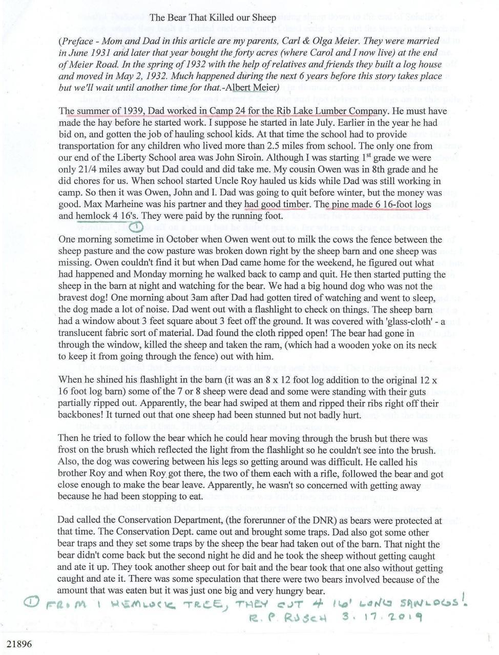 "C:\Users\Robert P. Rusch\Desktop\II. RLHSoc\Documents & Photos-Scanned\Rib Lake History 21800-21899\21896 W. by Albert Meier c. 1990 ""The Bear that Killed our Sheep"", p. 1.jpg"