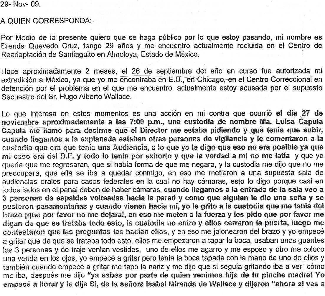 Transcripción de la carta de Brenda de 29 de Noviembre de 2009, en la que denuncia los actos de tortura en su perjuicio.