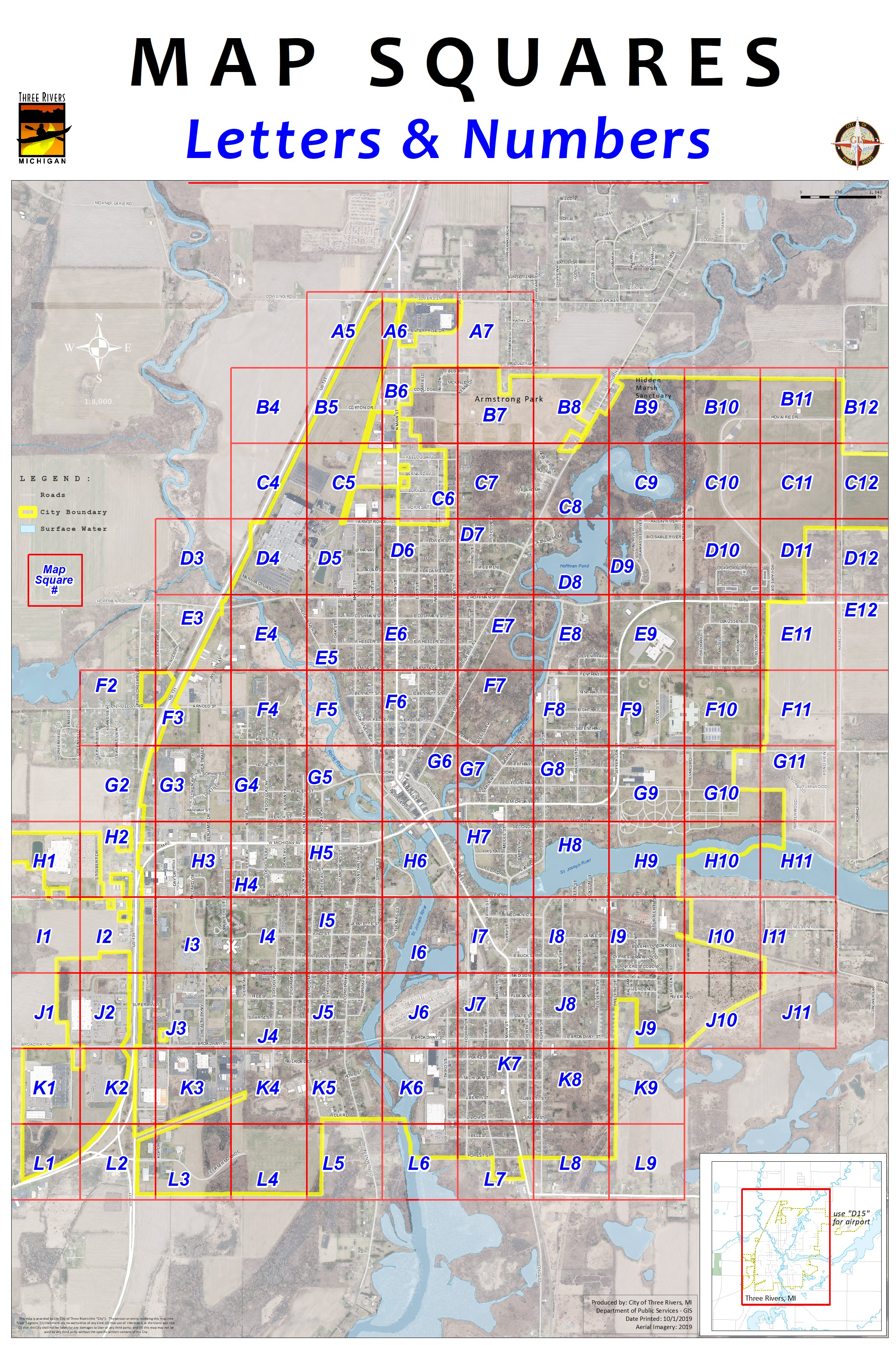 """NOTE:  Downtown is """"G6"""", W.Michigan Ave. is H3 to H5, E.Michigan Ave. is G7 & G8, Armstrong Park is B7 & B8, High school is F9, Middle school is E9, Hoffman Pond is D8, Memory Isle Park is mostly G5, Scidmore Pk. is H6, etc,..."""