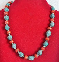 Necklace with coral and turquoise