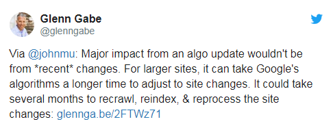 твит эксперта про то, что недавние изменения не учитываются в обновлениях основного алгоритма