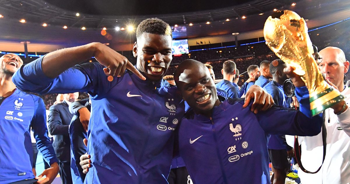 Paul Pogba and Ngolo Kante celebrating the World Cup win